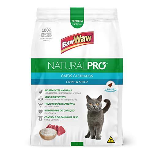 Baw Waw Natural Pró Alimento Para Gatos Castrados Carne E Arroz - 12x1kg