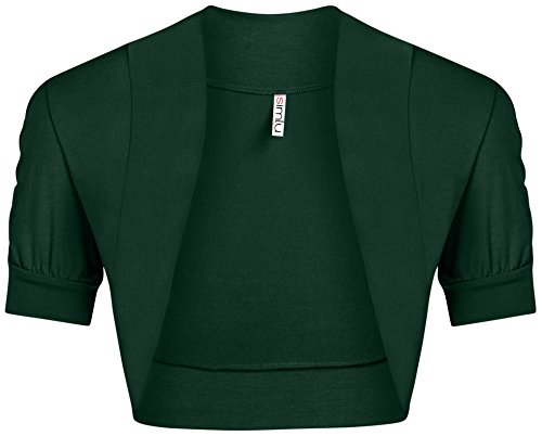 Womens Shoulder Shrugs Reg and Plus Size Ruched Short Sleeve Boleros for Dresses - Made in USA (Size XXX-Large, Hunter ()