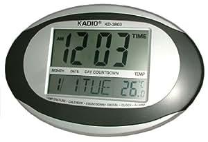 Kadio KD-3803 LCD Jumbo reloj de pared con diseño de brillantes, temperatura, temporizador y alarma - en color gris y plateado