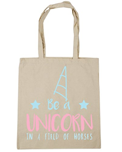 HippoWarehouse Be a unicorn in a field of horses Tote Shopping Gym Beach Bag 42cm x38cm, 10 litres Natural