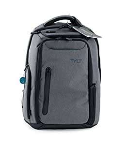TYLT Energi Pro Power Backpack with Charging Station - Charge Up to 3 Devices at Once via USB or USB Type-C Ports, TSA Approved Laptop and Mobile Device Travel Bag with Built-in Power Bank
