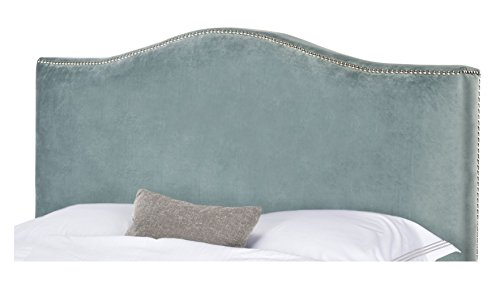 Arched Velvet Upholstered Headboard (Arched Velvet Upholstered Aqua Headboard with Silver Metal Nailheads for Queen Bed Frame Includes ModHaus Living (TM) Pen)