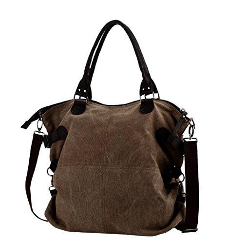 highsale - Bolso al hombro de Lona para mujer marrón