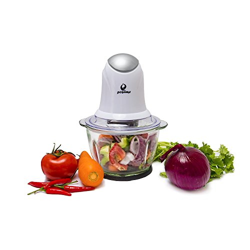 POSAME Food Chopper 4 Cup Glass Bowl , One Touch Multipurpose Electric Food Processor Mincer, White
