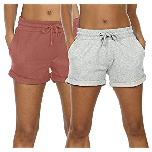 icyzone Workout Lounge Shorts for Women - Athletic Running Jogging Cotton Sweat Shorts(Pack of 2) 25