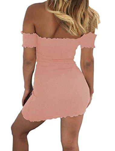 Comodi Off Magra Rosa Bodycon Womens Clubwear Mini Spalla Solida Abito Awgdqp6