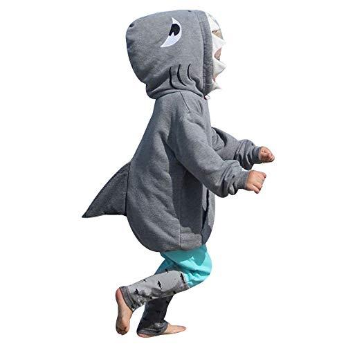 Fheaven 2Pcs Kid Baby Girl Boy Cartoon 3D Shark Hoodie T Shirt Tops Pocket +Pants Autumn Winter Clothes Set (3-4 Years, Gray) ()