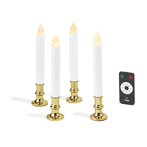 4 White Flameless LED Taper Candles with Removable Gold Candle Holders, Batteries & Remote (Battery Christmas Candles)
