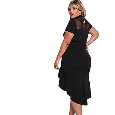 Vestidos Tallas Grandes Plus Ropa De Moda Para Mujer Sexys Casuales Largos De Fiesta y Noche Elegantes Negro (XXL) VE0061 at Amazon Womens Clothing store: