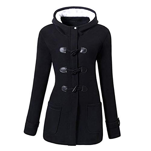 - GuGio Womens Winter Fashion Outdoor Warm Wool Blended Classic Pea Coat Jacket (Black
