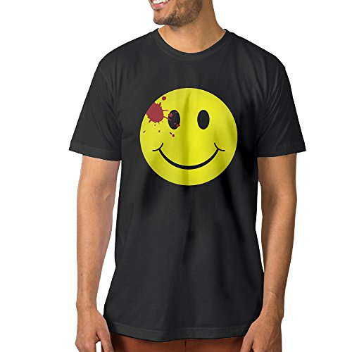 XJBD Men's Watchmen Bloody Smiley Face Unique Tee Black Size 3X ()