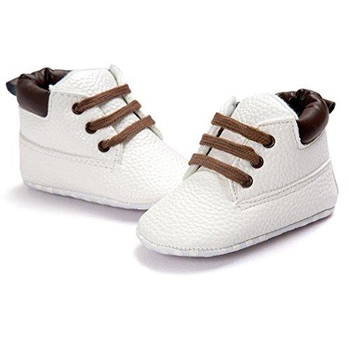 Koly Zapatos de cuero suave de la muchacha del muchacho del niño del bebé (13, Gris) Blanco
