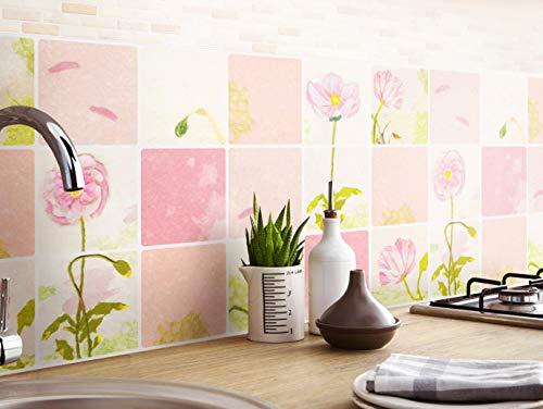 (SERENITA Heat Resistant Waterproof Kitchen Sheet Blacksplash DIY Tile Stickers, Decorative Removable Peel Off Decals, for Kitchen Bathroom Livingroom, Flame-Resistant, 16.6x27.5 inch (Pink))