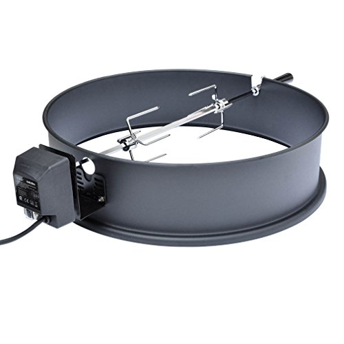 Weber Rotisserie Kit - Onlyfire Universal High-Temp Resistance Black Coated Steel Charcoal Kettle Rotisserie Ring Kit for Weber 2290 and Other Models