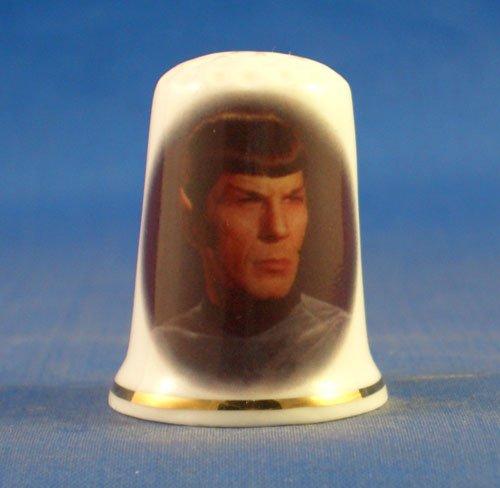 Porcelain China Collectable Thimble - Star Trek Spock -- Free Gift Box Birchcroft China