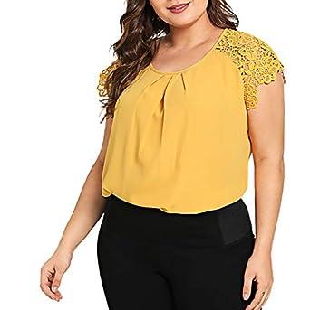 YWLINK Moda para Mujer Tallas Grandes SóLido O-Cuello Encaje Hombro Camiseta Manga Corta Tops Blusa Camiseta De Gasa para Mujer Casual XL-XXXXXL