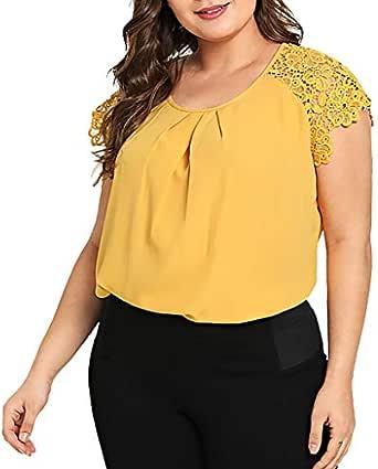 YWLINK Moda para Mujer Tallas Grandes SóLido O-Cuello Encaje Hombro Camiseta Manga Corta Tops Blusa Camiseta De Gasa para Mujer Casual XL-XXXXXL: Amazon.es: Ropa y accesorios
