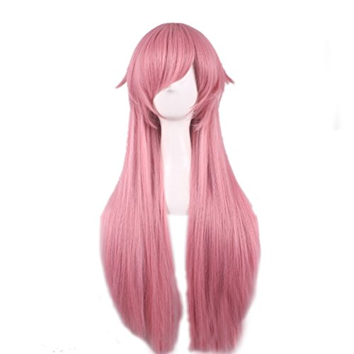 Price comparison product image Rise World Wig Gasai Yuno Woman Long Pink Straight Cosplay Costume Wig Party