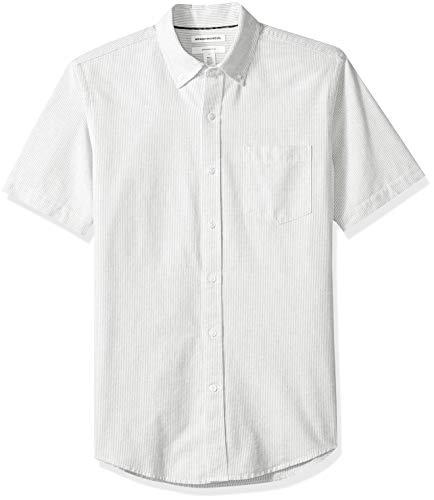 Amazon Essentials Men's Slim-Fit Short-Sleeve Pocket Oxford Shirt, Grey Stripe, ()