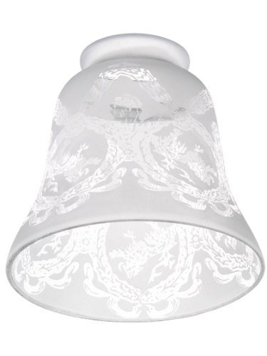 """Etched Lion & Wreath Shade With 2 1/4"""" Fitter. Antique Light"""