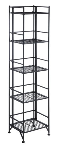 Convenience Concepts 8016B Designs2Go X-Tra Storage 5-Tier Folding Metal Shelf, Black