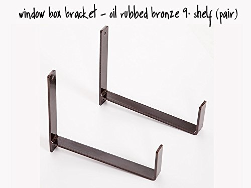 9'' Shelf Window Box Wall Bracket - (Pair)- Oil Rubbed Bronze by Windowbox.com