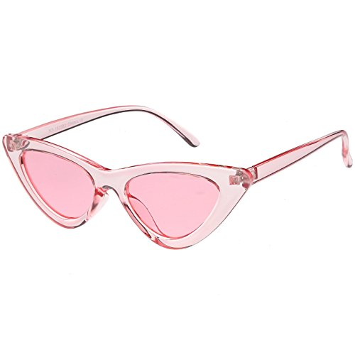 sunglassLA - Womens Exaggerated Translucent Cat Eye Sunglasses Color Tinted Lens 48mm (Pink / - 90's Sunglasses