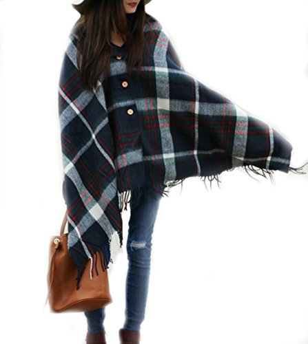 FLASH SALE - Pretty Simple Plaid Button Blanket Scarf Shawl Women's Wrap (Navy Blue)