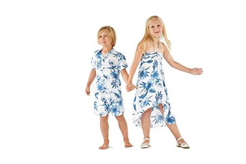Matching Boy and Girl Siblings Hawaiian Luau Outfits in Day Dream Bloom Girl 14 Boy 12