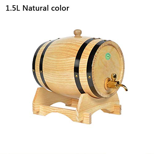Wood Oak Wine Barrel,Special Timber Wine Barrel Dispenser 1.5L and 3L Storage Bucket Beer Casks for Whiskey Aging Barrel Beer Rum Port