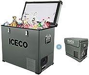 ICECO 62 Quart Single Zone Portable Fridge,AC 110V/ DC 12V True Freezer for Car, Home, Camping, RV 0°F to 50°F