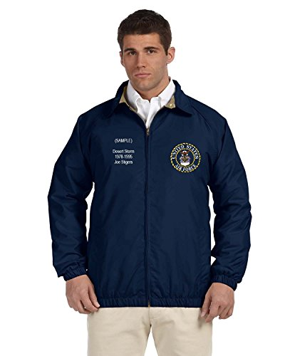 US Air Force Personalized Custom Embroidered Lightweight All Season Jacket - Navy Blue ()