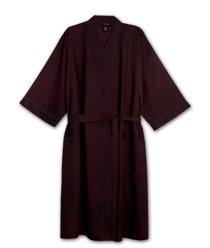 Foxfire Tall Mens Light Weight Broadcloth Kimono Robe (BURGANDY 3/4T)