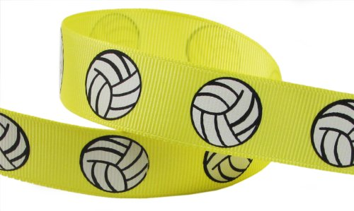 HipGirl Brand Printed Grosgrain Ribbon, 5 -Yard 7/8-Inch Volleyball Up Close, Lemon
