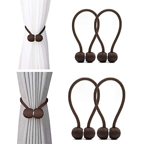 DEZENE Magnetic Curtain Tiebacks,The Most Convenient Drape Tie Backs,Decorative Rope Holdback Holder for Window Sheer and Blackout Drapries,2 Pack(12 Inch Long) and 2 Pack(16 Inch Long),Chocolate (Curtain Tie Backs Rod)