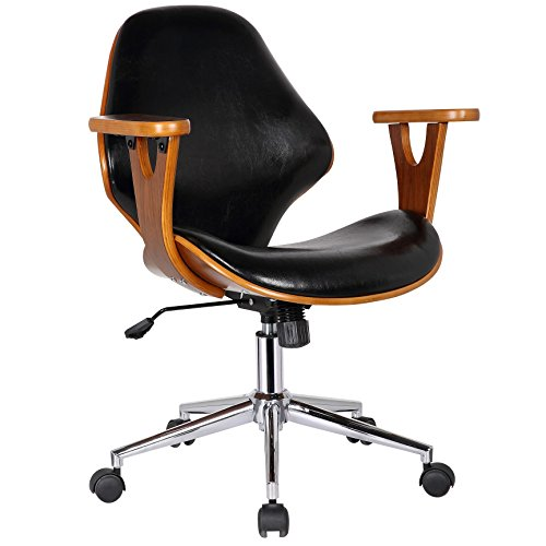 Wood Office Chair (Porthos Home Lillian Adjustable Office Chair, Black)