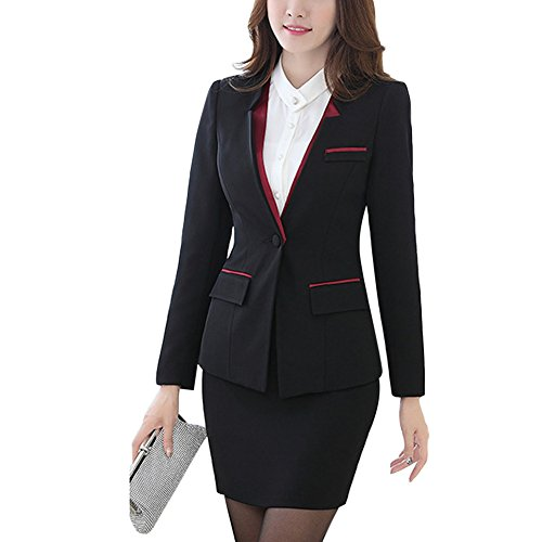 2bae813376c7 Women s 2 Piece Slim Fit Suits Set for Business Office Lady Blazer Jacket  Pants