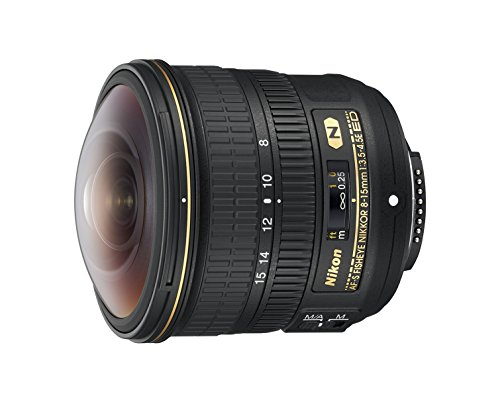 Nikon AF-S FISHEYE NIKKOR 8-15mm f/3.5-4.5E ED 8-15mm f/3.5-29 Body Only Camera Lens, Black