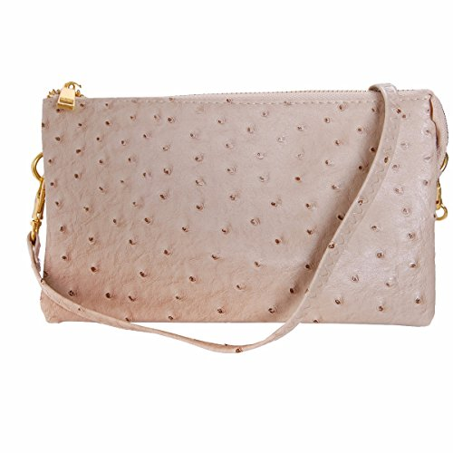 (Humble Chic Vegan Leather Faux Ostrich Wristlet - Textured Dot Convertible Wallet Crossbody Bag Clutch Purse with Shoulder Strap, Tan Ostrich, Nude, Beige)