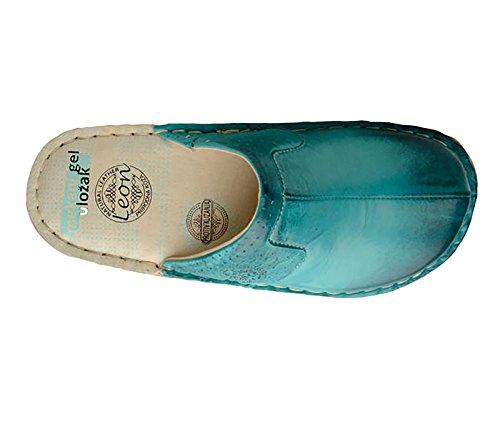 Chaussons Chaussures Leon Cuir Sabots Turquoise En Dames Femme Mules 360 qwppvtI