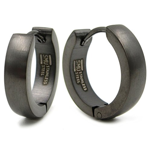 Stainless Steel Curved Face Round Hoop Earrings Brush Gunmetal 16mm (Huggie Titanium Earrings)