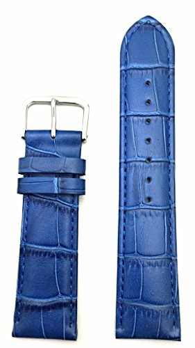 22mm Royal Blue Genuine Leather Watch Band | Alligator Crocodile Grained, Lightly Padded Replacement Wrist Strap That Brings New Life to Any Watch (Mens Standard Length)