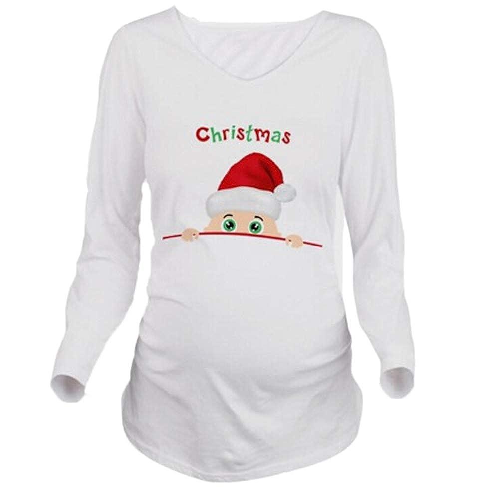 hellomiko Embarazo Mujeres Cute Funny Christmas Baby Printed T Shirt