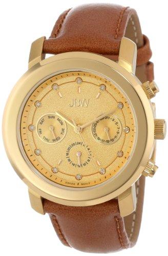 JBW Women's J6276A Bold Multi-Function Diamond Tan Leather Band Watch