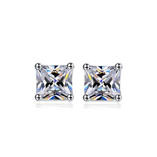 NEWBARK Plated 4 prong Princess cut Earrings