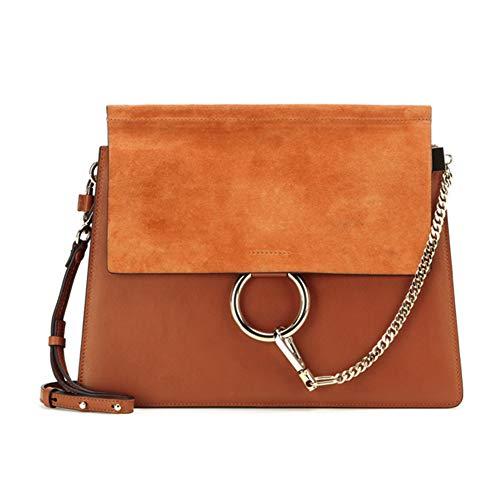 ACTLURE Women Genuine Leather Crossbody Shoulder Purse Chain Link Handbag (Caramel-M)
