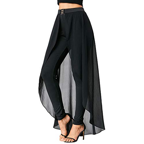 CCatyam Pants for Women, Yoga Trousers with Skirt High Waist Leggings Solid Loose Casual Fashion Black