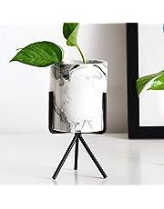 وعاء رخام للزهور بحامل رخام مثلثي للاستخدام الخارجي والداخلي من رانرانج