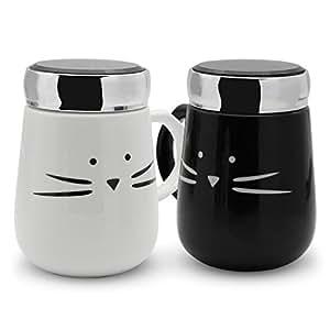 Koolkatkoo Funny Black and White Ceramic Cat Cups Coffee Couple Mugs Set for Cat Lovers Cute Pottery Tea Mug with Mirror Lid Mom Mug