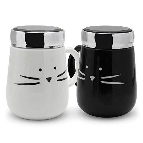 Koolkatkoo Ceramic Cat Coffee Mugs with Mirror Lid Set for Women Girls Cute Tea Cup Coffee Mug 16 oz Black and White